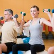 Exercising with fitness ball at gym — Foto de Stock