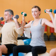 Exercising with fitness ball at gym — Stock Photo