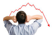 Businessman and declining share — Stock Photo