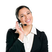 Smiling business woman operator with headset — Stock Photo
