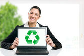 Green business recycling symbol — Stock Photo