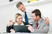 Happy business team celebrate — Stock Photo
