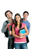 Leende glada studenter — Stockfoto