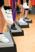 Aerobic step exercise detail — Stock Photo