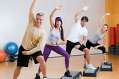 Aerobic exercises at gym — Stock Photo