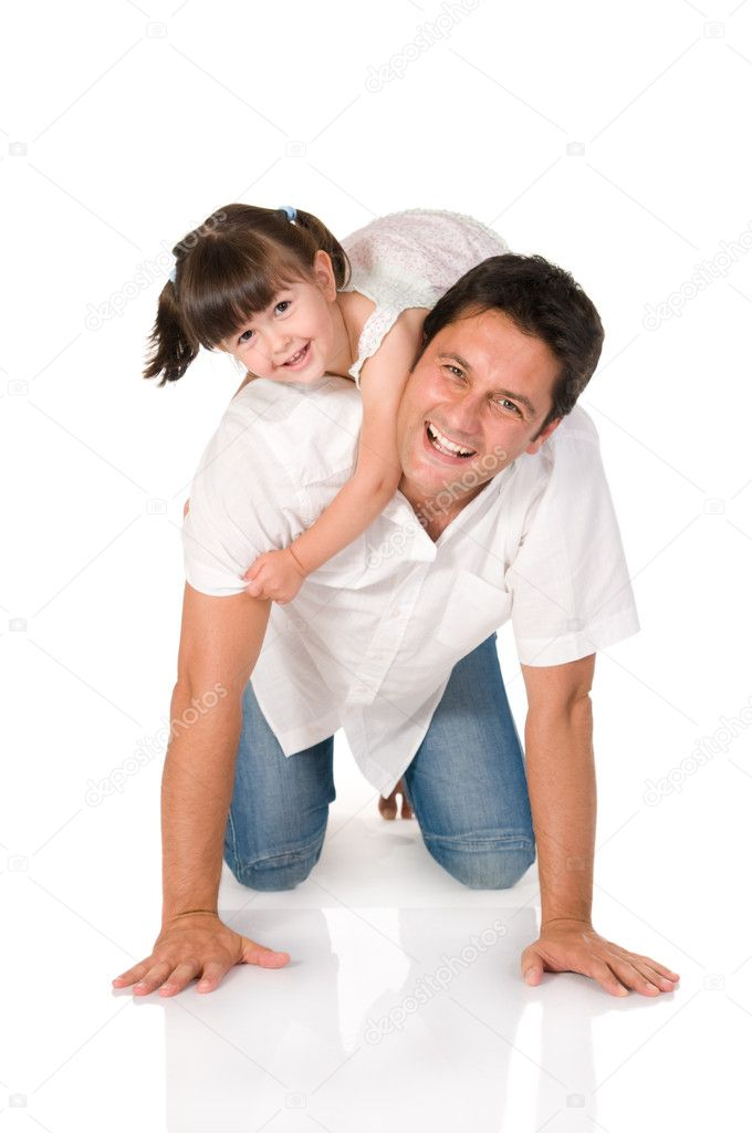Smiling father carrying on his shoulders his little daughter isolated on white background  Stock Photo #12656538