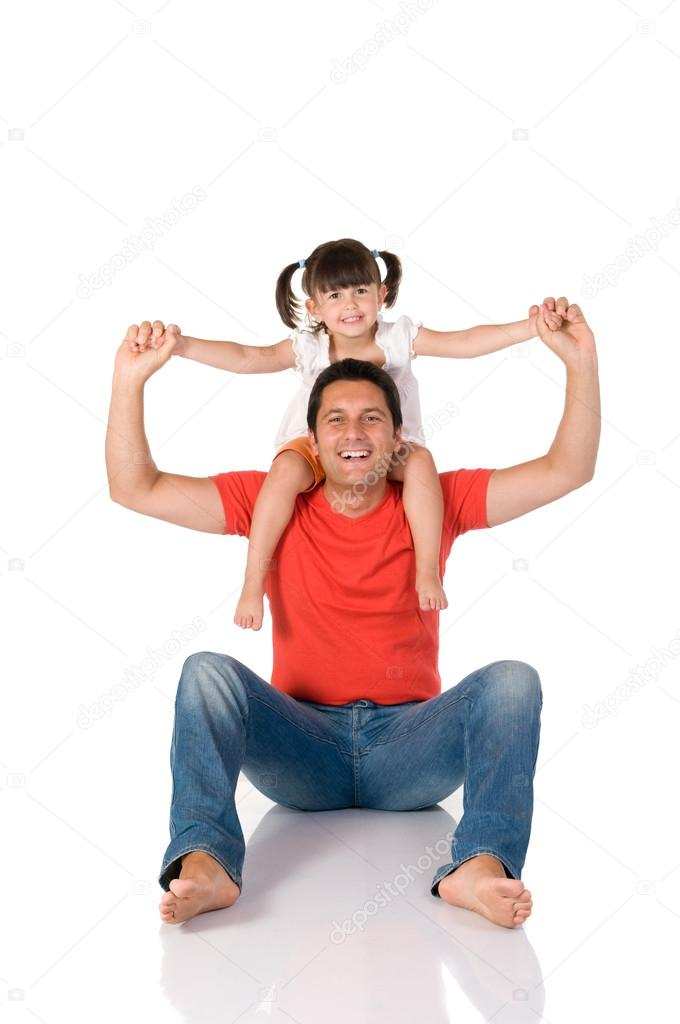 Smiling father carrying on his shoulders his little daughter isolated on white background — Stock Photo #12656567