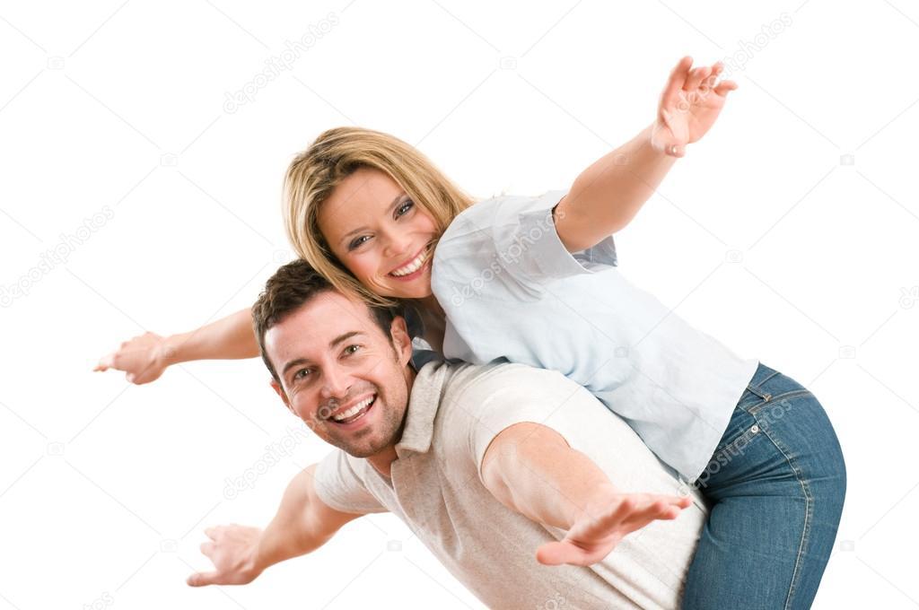 快乐微笑着几个背驮式伸胳膊图片