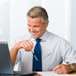 Smiling satisfied businessman working — Stock Photo