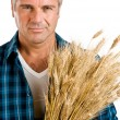Farmer with wheat portrait — Stock Photo
