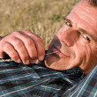 Satisfied man relax - Stock Photo