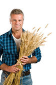 Farmer with wheat — Stock Photo