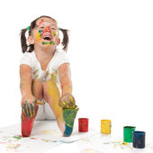 Happy child painting — Stok fotoğraf