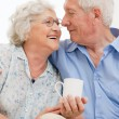 Retired loving aged couple - Stock Photo