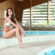 Постер, плакат: Happy girl at pool