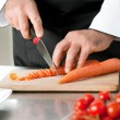 Cutting carrot — 图库照片