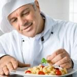 Garnish a gourmet dish — Stock Photo