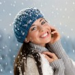 Happy winter with snow — Stockfoto