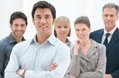 Zespół szczesliwym biznesem — Zdjęcie stockowe