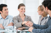 Businesswoman handshake — Stock Photo