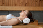 Relaxing at sauna — Stock Photo