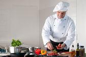 Dinner preparation at restaurant — Stock Photo