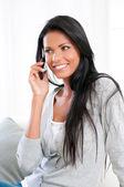 Smiling girl on mobile — Stock Photo