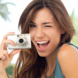 Woman Taking Photos With Camera — Foto de Stock