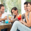 Foto Stock: Happy Friends Drinking Juices