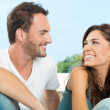Happy Couple Having Chat - Stockfoto