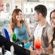 Happy Friends Drinking at Bar — Stockfoto #16955831