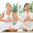 Serene Couple Doing Yoga — Stockfoto