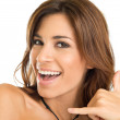 Happy Brunette Woman Gesturing — Stock Photo
