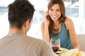 Young Couple At Restaurant — Foto Stock