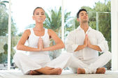 Serene Couple Doing Yoga — Stock Photo