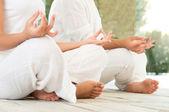 Lotus pose at yoga closeup — Stock Photo