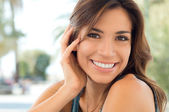 Closeup Smiling Happy Woman — Stok fotoğraf