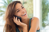 Young Woman Talking On Cell Phone — Foto Stock