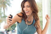 Happy Woman Listening To Music — Stockfoto