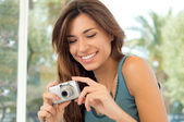 Happy Woman Taking Pictures — Stock Photo