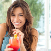 Happy Woman Drinking Juice — Stok fotoğraf