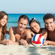 Happy Group Of Friends at Beach — Foto de Stock