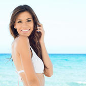 Summer Woman at Beach — Stock Photo