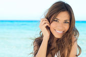 Young Woman Smiling At Beach — Stok fotoğraf
