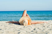 Relaxing and Sunbathing at Sun — Stock Photo