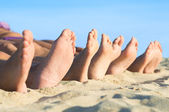 Feet relax at beach — 图库照片