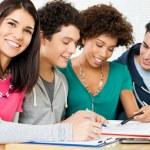 Happy Friends Doing Homework — Stock Photo