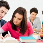jonge studenten huiswerk — Stockfoto