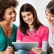 Girls Looking At Digital Tablet — Stock Photo