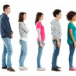 People Standing In A Row - Stock Photo